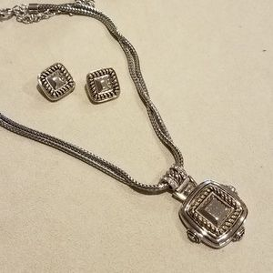 Chico's silver/gold pendant & pierced earring set